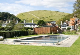 Outdoor swimming pool at Rudds Lulworth B&B in Lulworth Cove